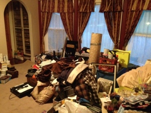 Our 4 yard sale pile, and a  visual of how my mind feels about now.