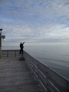 Looking at wildlife from the dock at Grand Isle State Park