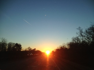 Sunset on our first night's drive towards Texas