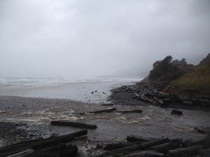Creek flowing into the ocean at Beverly Beach State Park