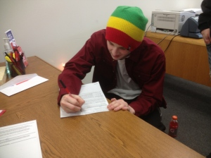 Eli's first documentation signing for his insurance