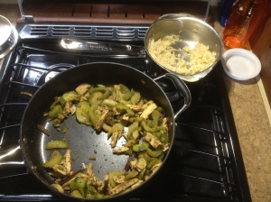 Chicken stir fry with wheat rice.  Really good! As you can tell, we'd already made a good dent in it.