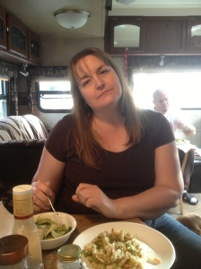 Stacey trying out our Shrimp pasta meal