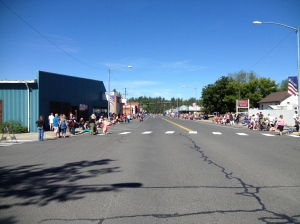 People lined up both sides of the street to see the parade