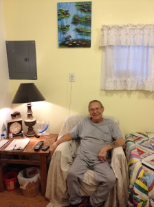 Papa was happy to hang my artwork in his place