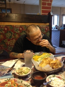 Papa enjoying his birthday dinner at our local mexican restaurant