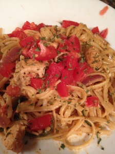 Cajun Chicken Pasta.... Delicious!  Worth the work to make it.