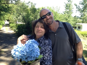 Mitch brought his sis a beautiful hydrangea, and made her day.