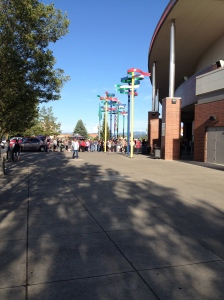 Going to get in line at the Spokane Veterans Memorial Arena