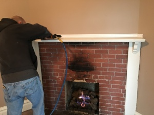 Even the fireplace got spruced up with trim