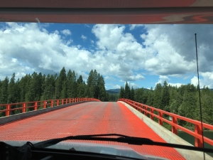Over the red bridge we go